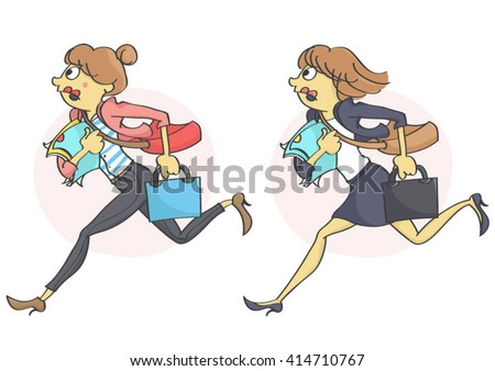 Business woman or a clerk running in stress due to a deadline,  getting late for work or a meeting. Set of two characters. - stock vector