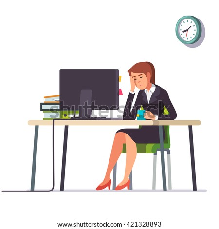 Business woman or an accountant in a suit fell asleep working on a laptop computer at her office desk. Flat style color modern vector illustration. - stock vector