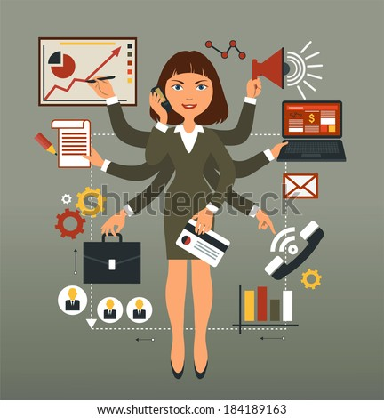 Business woman performs many leadership roles. - stock vector