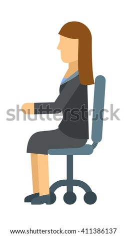 Business woman resting on office armchair, secretary sitting manager professional occupation vector. Woman in chair business, person and office woman in chair. Woman in chair professional occupation. - stock vector