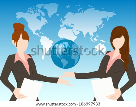 business woman safe the earth - stock vector