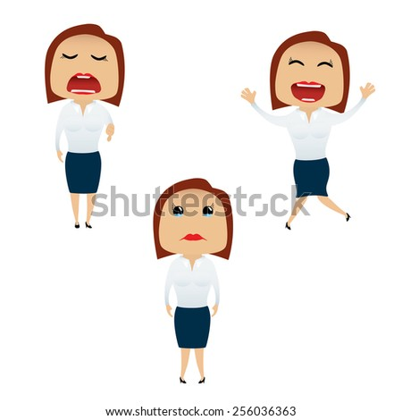 Business woman set doing actions for use in advertising, presentations, brochures, blogs, documents and forms, etc. - stock vector