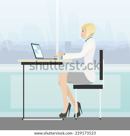 business woman sitting at desk in office working laptop computer vector illustration - stock vector