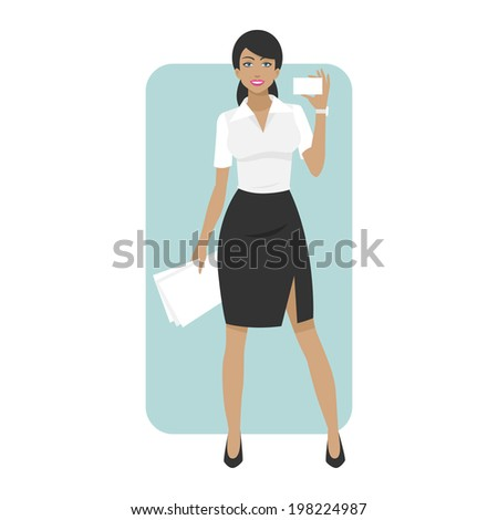 Business woman smiling and holds business card - stock vector