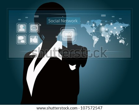 business woman touch message - stock vector