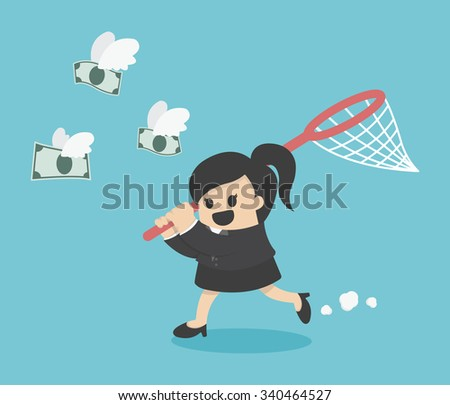 business woman trying to catch money - stock vector