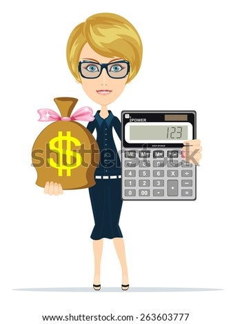 Business woman with a calculator and a full bag of money, vector illustration - stock vector