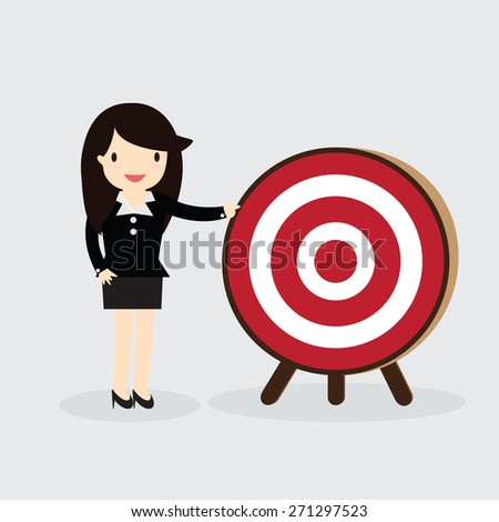 Business woman with arrow is aiming at target - stock vector
