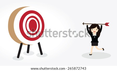Business woman with bow and arrow is aiming at target - stock vector