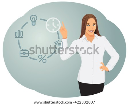 Business woman works with a futuristic touch screen with icons. Time management and technology. - stock vector