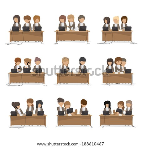 Business Women In Office - Isolated On White Background - Vector Illustration, Graphic Design Editable For Your Design. Team Working In Office - stock vector