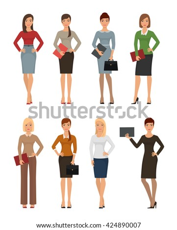 Business women in various poses vector set. Successful young business woman in office clothes isolated on white background - stock vector