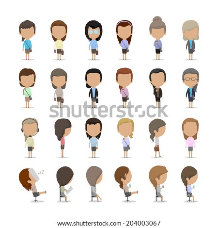 Business Women - Isolated On White Background - Vector Illustration, Graphic Design Editable For Your Design. - stock vector