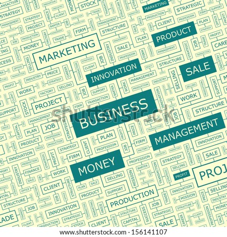 BUSINESS. Word cloud illustration. Tag cloud concept collage. Vector text conceptual illustration. Usable for different business design.  - stock vector
