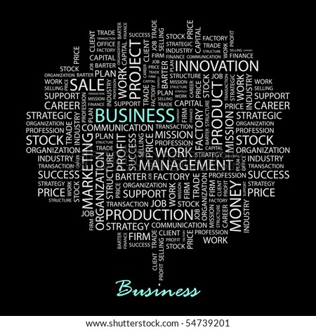 BUSINESS. Word collage on black background. Vector illustration. - stock vector
