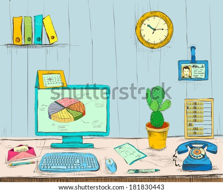 Business workplace office interior desk with computer cactus phone files and documents hand drawn isolated vector illustration sketch - stock vector