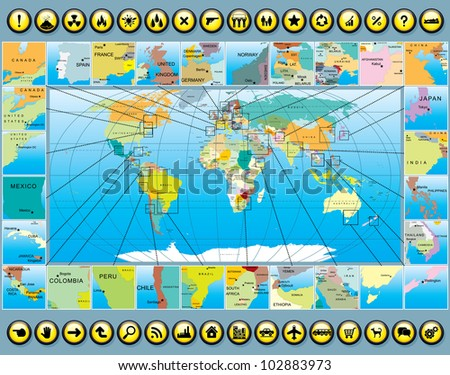 Business World Map Kit. Multitude Vector Pictograms and Icons - stock vector