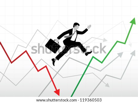 Business world ups and downs - stock vector
