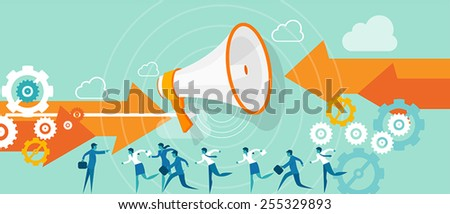 business wrong direction leadership team - stock vector