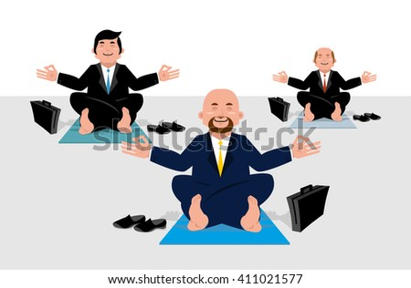 Business yoga for corporate office workers. Businessmen sitting in lotus position and meditate on wealth. Enlightening managers. Yoga mat. Office yogi - stock vector