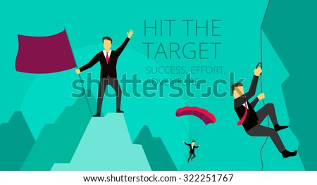 Businessman adventure activities overcoming difficulties. Symbolic image of work journey. mountaineer climber climbs the mountain - stock vector
