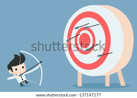 businessman aiming at target with bow and arrow, vector - stock vector