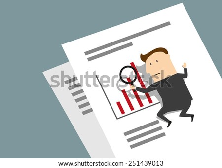 Businessman analyzing a bar graph with a magnifying glass in a conceptual image of planning and performance - stock vector