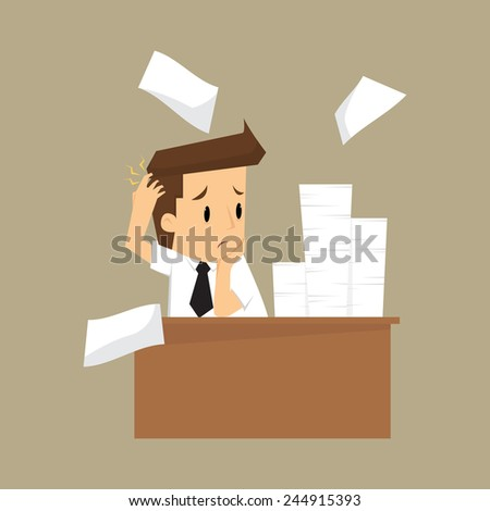 Businessman and a lot of documents.vector - stock vector