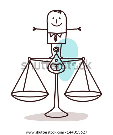 businessman and balance - stock vector