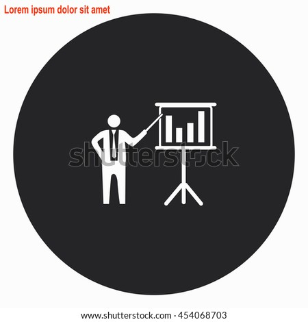 Businessman and blackboard web icon. Gray circle button with white illustration. - stock vector