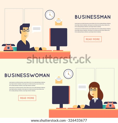 Businessman and businesswoman character sitting at the desk in the office vector illustration. Flat design. - stock vector