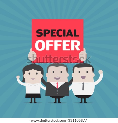 Businessman and Businesswoman holding special offer sign - Vector - stock vector