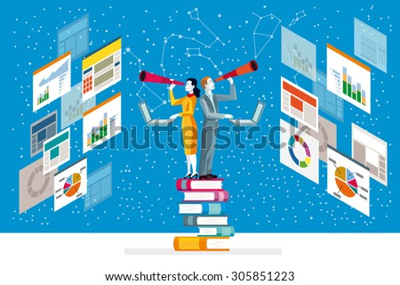 Businessman and businesswoman looking in telescope standing on top of books analyzing graphs, diagram and statistics web. - stock vector