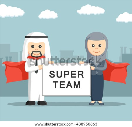 Businessman and businesswoman of arab holding super team board - stock vector