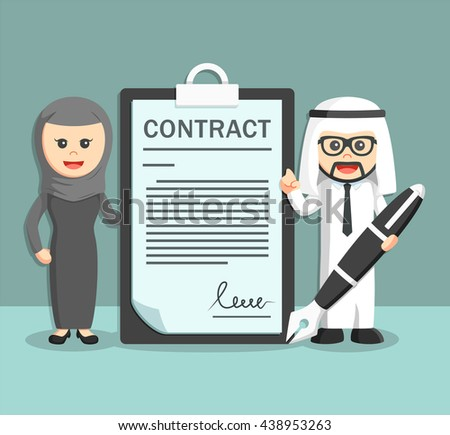 businessman and businesswoman of arab with contract paper and holding pen - stock vector