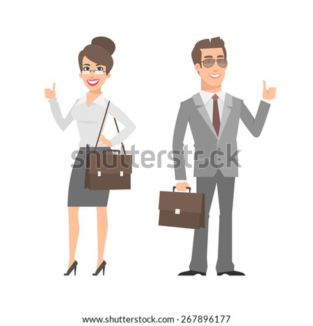 Businessman and businesswoman showing thumbs up - stock vector