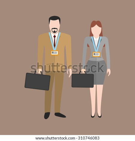 Businessman and businesswoman with badges - stock vector