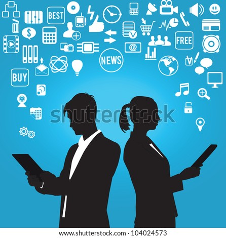 businessman and businesswoman with media symbols - vector illustration - stock vector
