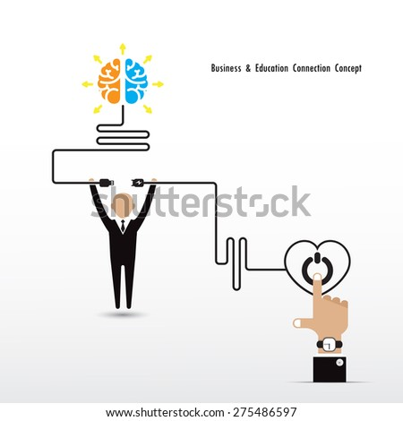 Businessman and creative light bulb brain symbol and knowledge connection concept. Business and education connection concept. Vector illustration  - stock vector