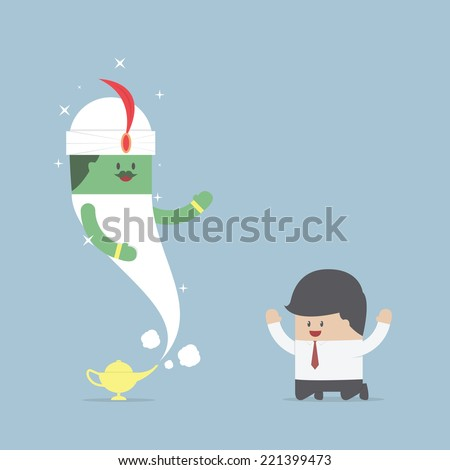 Businessman and genie giant in the magic lamp, VECTOR, EPS10 - stock vector