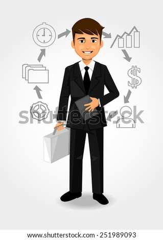 Businessman and growth - stock vector