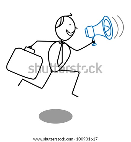 businessman and megaphone - stock vector