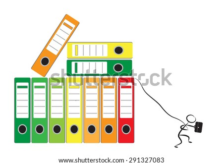 Businessman and office folders as concept for office burnout, vector illustration - stock vector
