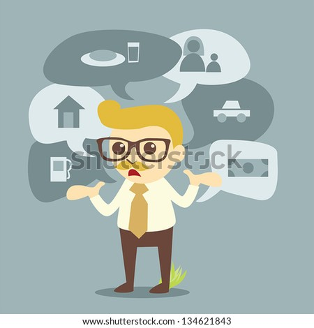 businessman and planning of life - stock vector