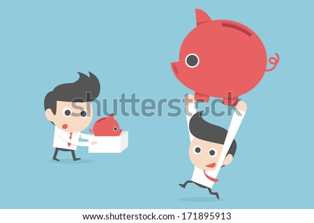 businessman and profit concept. vector - stock vector