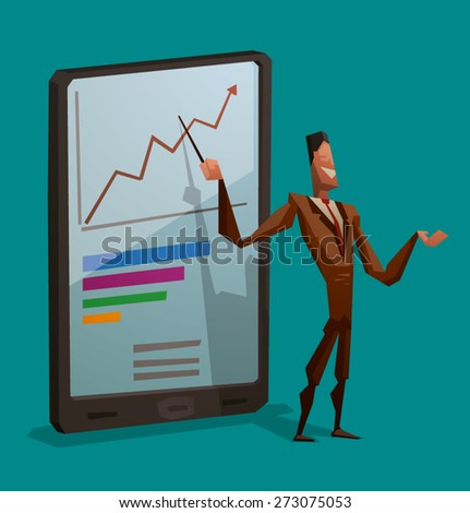 Businessman and smartphone, vector - stock vector