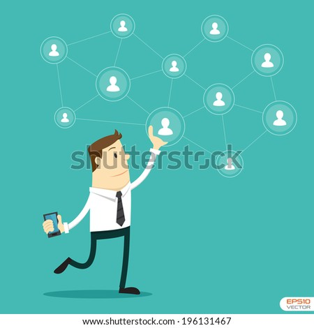 Businessman and Social network - stock vector