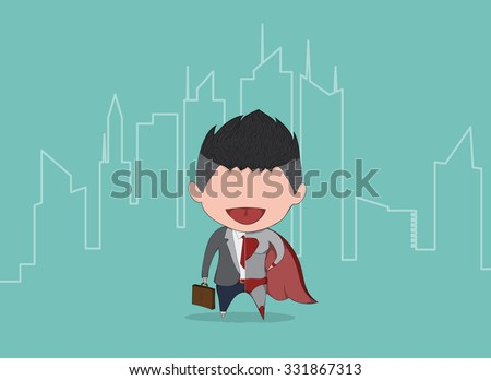 Businessman and superbusiness cute with the backdrop of the city.  - stock vector