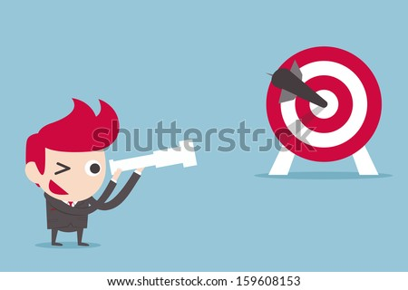 businessman and target, vector - stock vector