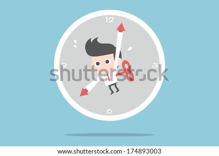 businessman and time, vector - stock vector